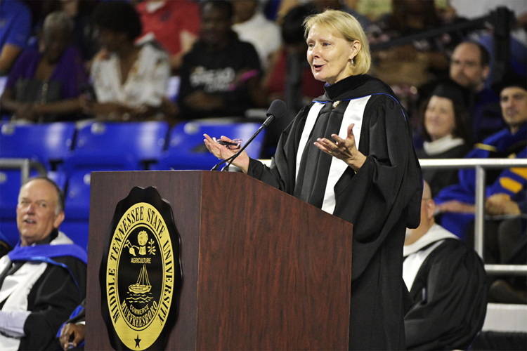 MTSU Board of Trustees member and Bridgestone Americas executive Christine Karbowiak makes a point Saturday, May 4, while speaking at the university's spring 2019 morning commencement ceremony at Murphy Center. MTSU presented 2,145 undergrads with their diplomas in two events Saturday and 384 graduate students with degrees May 3, bringing the university's total new alumni to 2,529. (MTSU photo by Andy Heidt)
