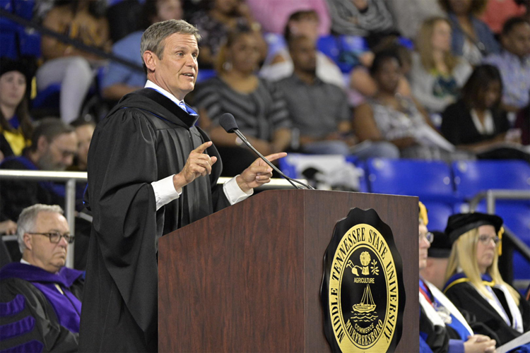 Tennessee Gov. Bill Lee speaks at MTSU's spring 2019 morning commencement ceremony Saturday, May 4, at Murphy Center. MTSU presented 2,145 undergrads with their diplomas in two events Saturday and 384 graduate students with degrees May 3, bringing the university's total new alumni to 2,529. (MTSU photo by Andy Heidt)