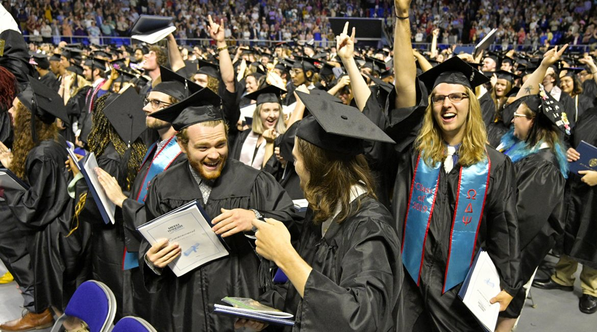 The May 2019 MTSU commencement in Murphy Center sent more than 2,500 graduates either into the workforce or on to graduate school. MTSU's College of Graduate Studies is offering a limited number of very reduced application fees for summer and fall to make that decision quite a bit easier. (MTSU file photo by Andy Heidt)