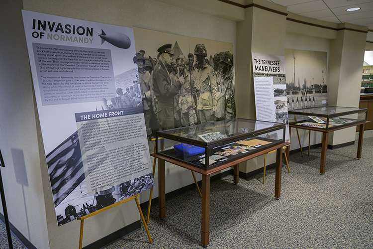 "Panels introduce visitors to the James E. Walker Library to ""A Great and Noble Undertaking: Remembering Tennesseans in World War II,"" an exhibit created by the Albert Gore Research Center and the library in observance of the 75th anniversary of the D-Day invasion. (MTSU photo by Andy Heidt)"
