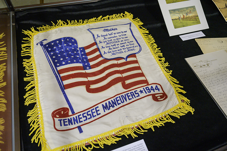 "A sampler commemorates the ""Tennessee Maneuvers,"" a military training exercise that was expanded to 21 Tennessee counties by 1944. Nearly one million soldiers passed through the Tennessee Maneuvers Area. (MTSU photo by Andy Heidt)"