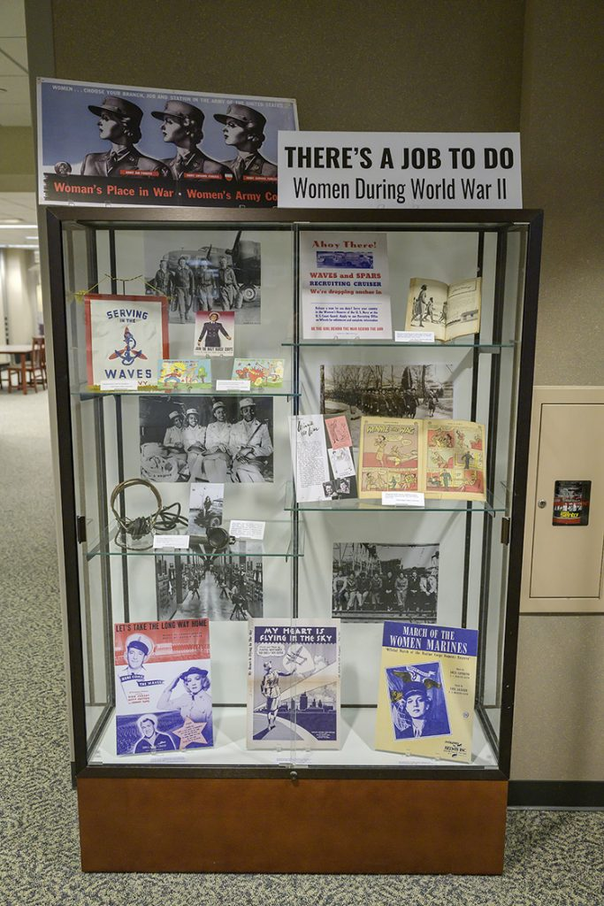 Women's contributions to American success in World War II, both in the military and on the home front, are depicted in artifacts at the James E. Walker Library. (MTSU photo by Andy Heidt)