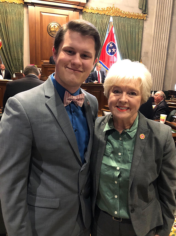 MTSU spring graduate Dalton Slatton, left, of Whitwell, Tenn., is shown at the Tennessee Capitol in Nashville with state Sen. Janice Bowling, R-Tullahoma