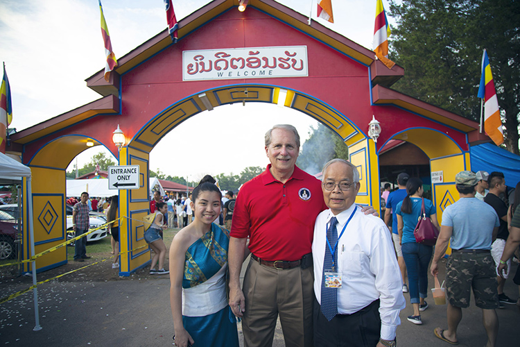 Rutherford County Mayor Bill Ketron, Rutherford County District 21 Commissioner Chantho Sourinho, and Asian Student Association president Sophia Luangrath pose for a photo at the Lao New Year Festival held May 25 at the Wat Lao Buddharam temple in Murfreesboro. (Submitted photo)