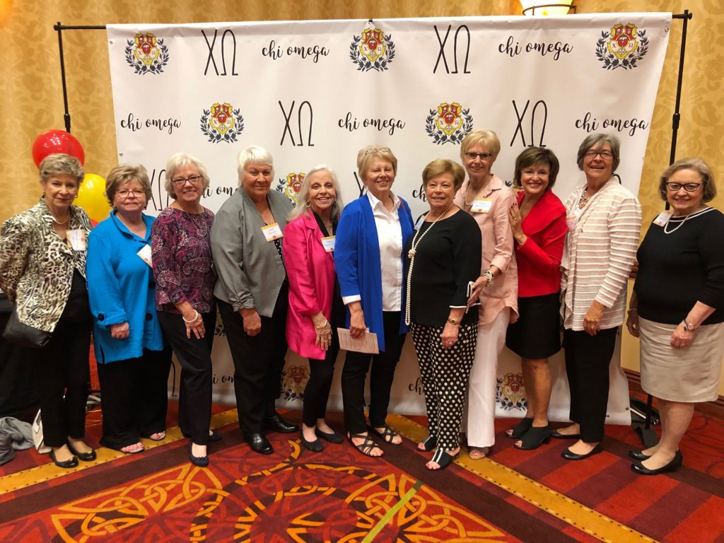 Some of the 1969 charter and pledges alumnae from the Zeta Theta Chapter of Chi Omega National Sorority pose for a photo during their 50th anniversary celebration held April 6 at the Embassy Suites in Murfreesboro. (Submitted photo)