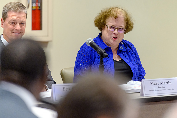 MTSU math professor Mary Martin, right, attends her first meeting of the MTSU Board of Trustees on Tuesday, June 18, at the Miller Education Center. Martin begins her two-year tenure on the board as faculty trustee. (MTSU photo by J. Intintoli)