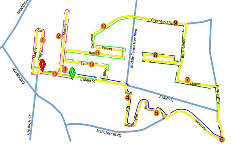 This is the new route for the Murfreesboro Half Marathon, also known as the Middle Half. (Courtesy of the Murfreesboro Half Marathon)