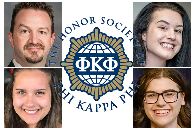 Dr. Philip Phillips, MTSU chapter president of Phi Kappa Phi honor society, is shown with three special study-abroad grant winners for 2019. They are, clockwise from bottom left, seniors Hayley Ellis, B. Monique Little and Hannah Solima.