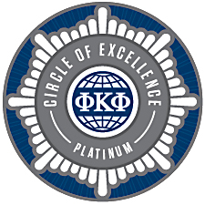 "Phi Kappa Phi ""Platinum Chapter of Excellence"" logo"