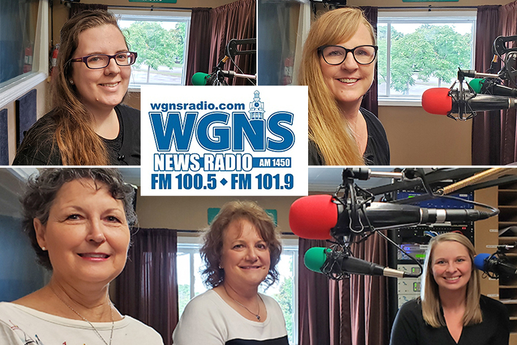 """MTSU faculty and staff appeared June 17 on the WGNS Radio """"Action Line"""" program with host Bart Walker. Pictured are, bottom from left, University College — Cindy Adams, manager of MTSU Online; Dr. Peggy Carpenter, assistant dean of adult programs; and Danielle Fowler, coordinator of corporate outreach; top left, Sarah Calise, an archivist at the Albert Gore Research Center; and top right, Dr. Robin Lee, director of the MTSU Center for Counseling and Psychological Services and program coordinator for the Professional Counseling Program. (MTSU photo illustration by Jimmy Hart)"""