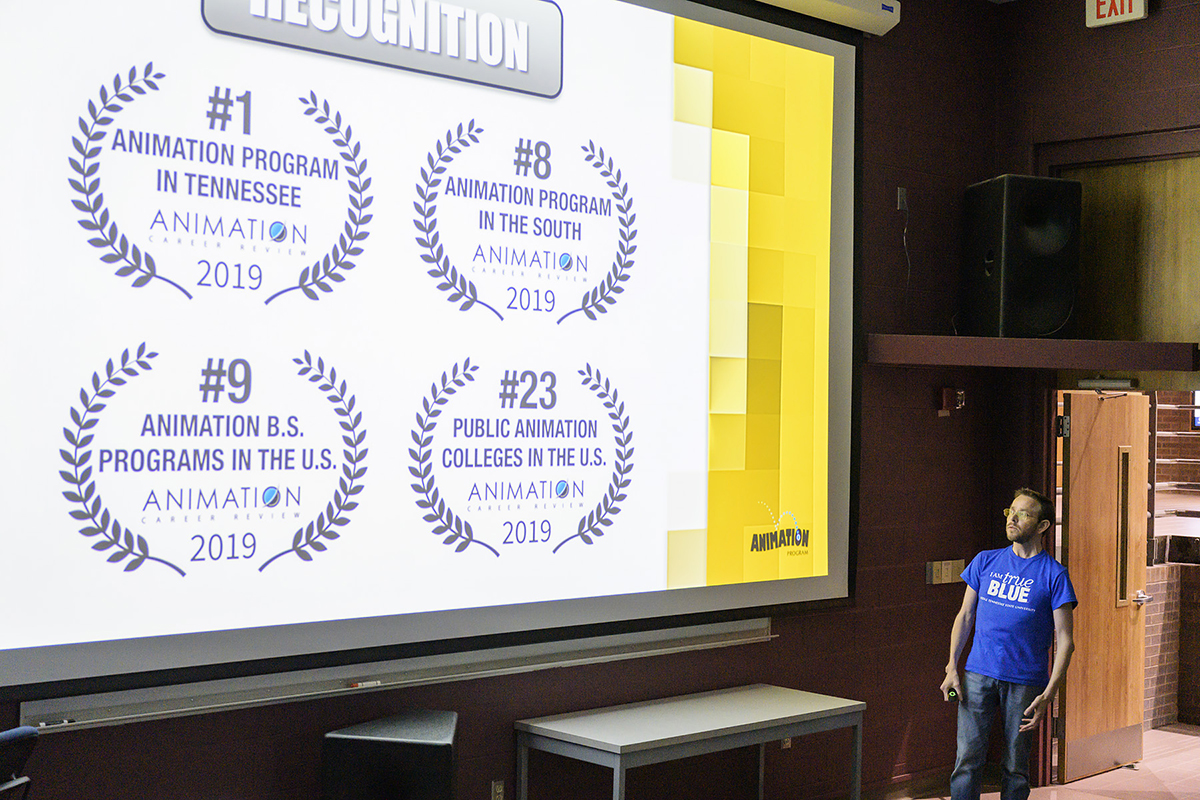 MTSU Media Arts assistant professor Kevin McNulty shares with 2019 Alumni Summer College attendees about the success and high rankings for the popular animation program during the recent three-day gathering on campus in the Bragg Media and Entertainment Building. (MTSU photo by Andy Heidt)