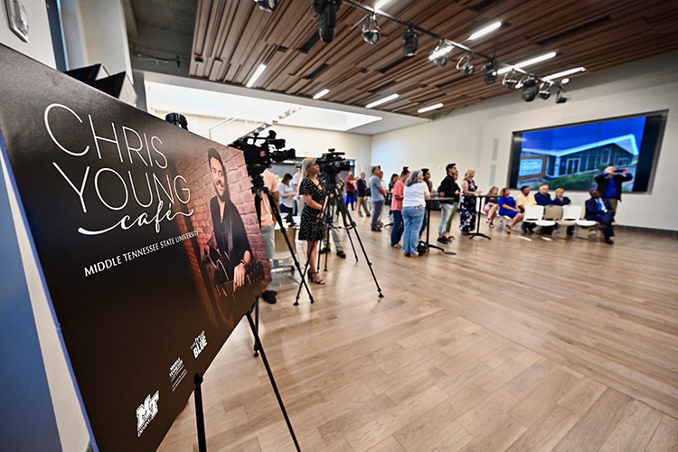 A crowd assembles at the Country Music Association's Nashville offices for an announcement by multi-platinum country artist Chris Young, a former MTSU student, to support a live performance venue on the MTSU campus that will bear his name. (MTSU photo by J. Intintoli)