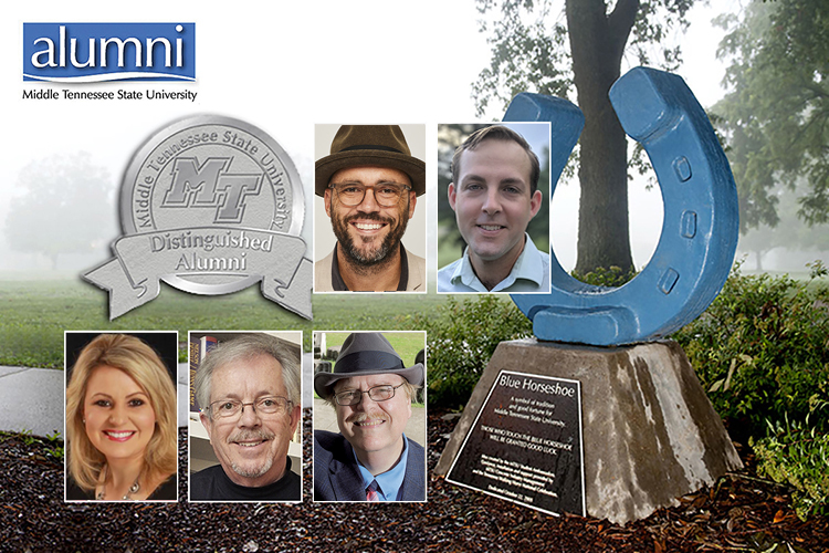 2019-20 MTSU Distinguished Alumni are, clockwise from center left, Jeremy Cowart, Dr. Aaron Shew, Dr. Carroll Van West, G. Edward Hughes and Megan Flippin, superimposed over a photo showing the Blue Horseshoe in an early summer fog. (MTSU file photo by Andy Heidt)