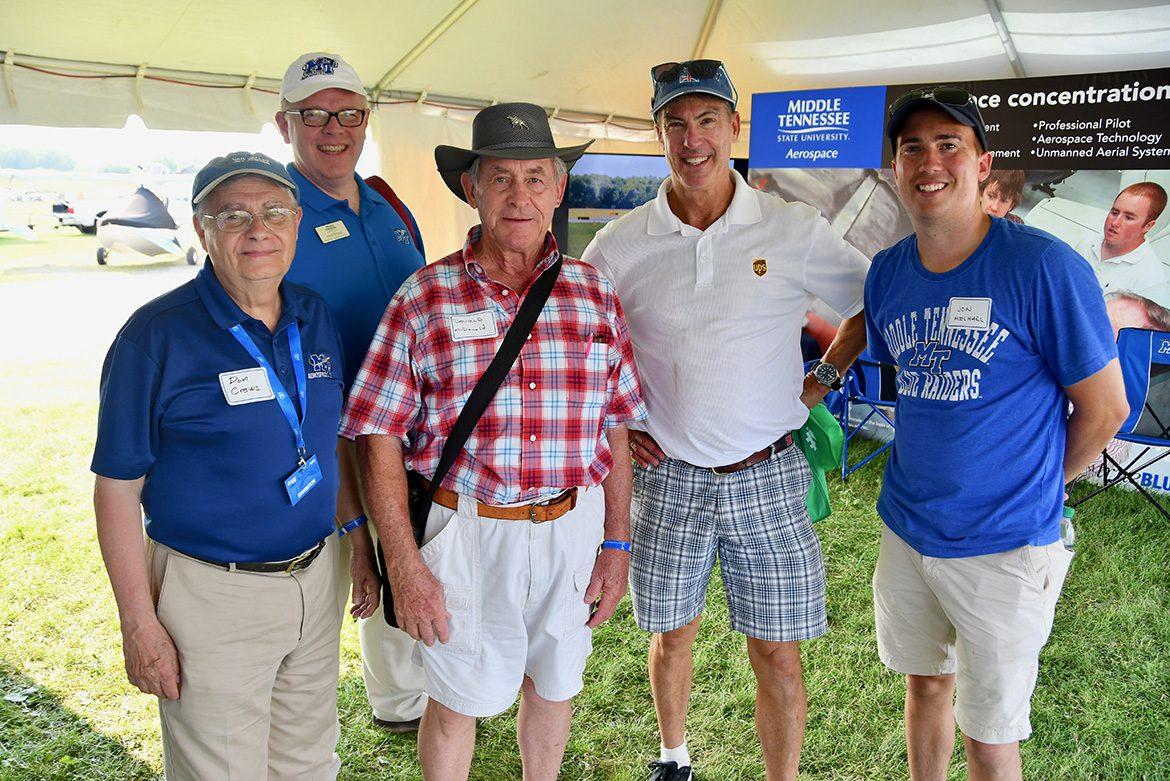 About 50 alumni from MTSU's Aerospace Department attended a special event Wednesday night on the grounds of EAA AirVenture, the largest air show of its kind in the world. (MTSU photo by Andrew Oppmann)