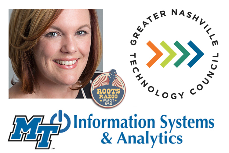 """""""MTSU On the Record"""" promo with Dr. Amy Harris and the MTSU Department of Information Systems and Analytics, Greater Nashville Technology Council and WMOT Roots Radio logos"""