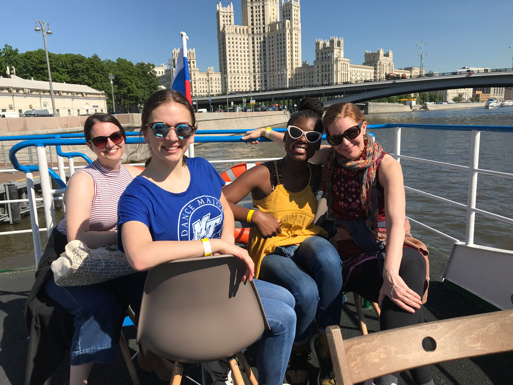 MTSU Dance students Megan Manning, Savannah Cook and Natasja Hall taking a Moscow River tour with professor Meg Brooker on a study abroad trip. Photo submitted.