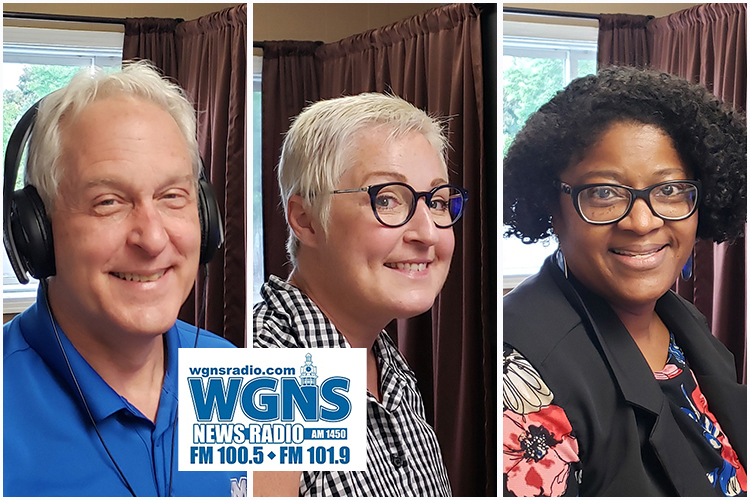 MTSU faculty and staff appeared on WGNS Radio recently to share information with host Bart Walker. Pictured, from left, are Dr. Tony Johnston, agriculture professor and director of the Fermentation Science Program; MTSU Write Director Jennifer Kates, an English instructor in the College of Liberal Arts; and Dr. Leah Tolbert Lyons, associate professor of French and director of the Master of Arts in Liberal Arts program. (MTSU photo illustration by Jimmy Hart)