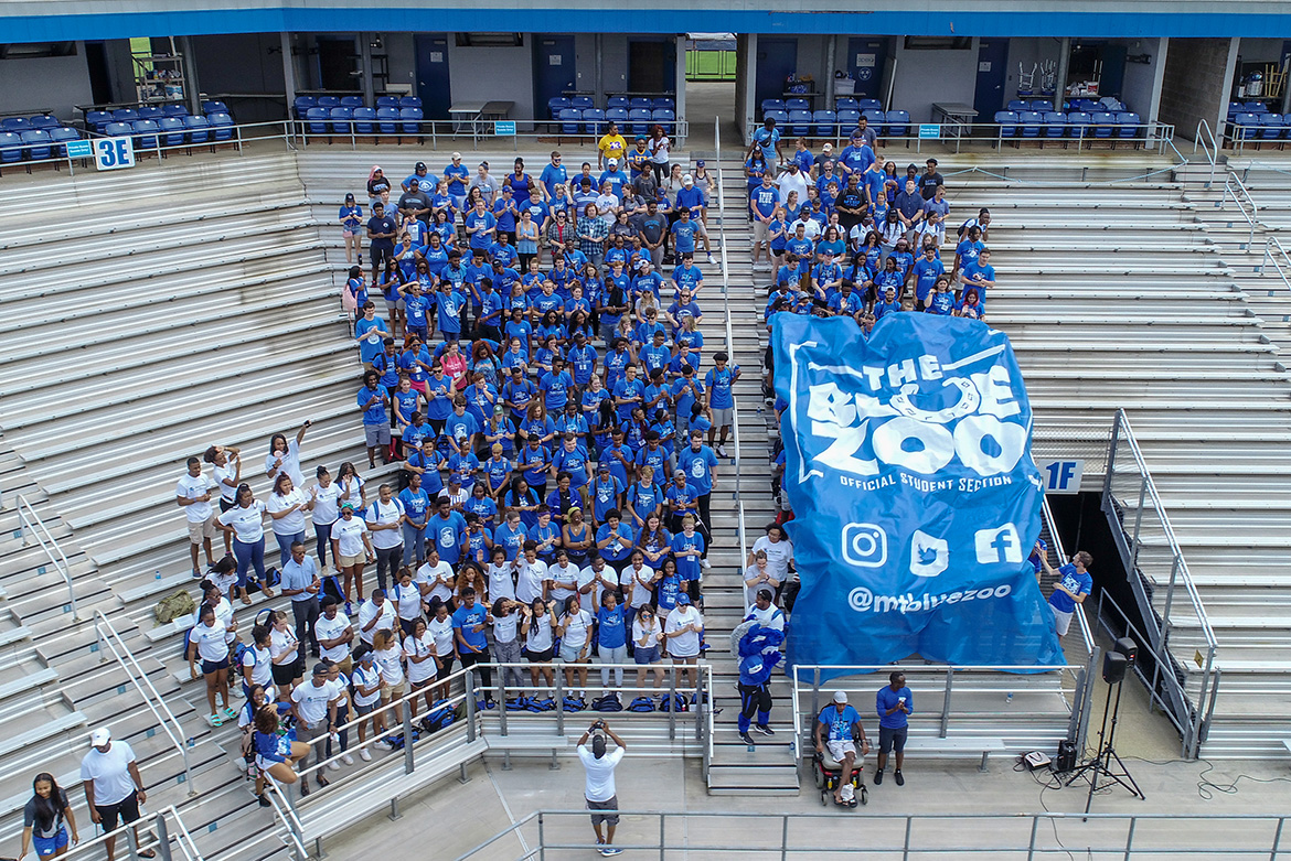 The huge banner for the Blue Zoo, the newly revived student pep group at MTSU, was unfurled for the first time Tuesday, Aug. 13, at an event at Floyd Stadium. (MTSU photo by Nathan Wallach)
