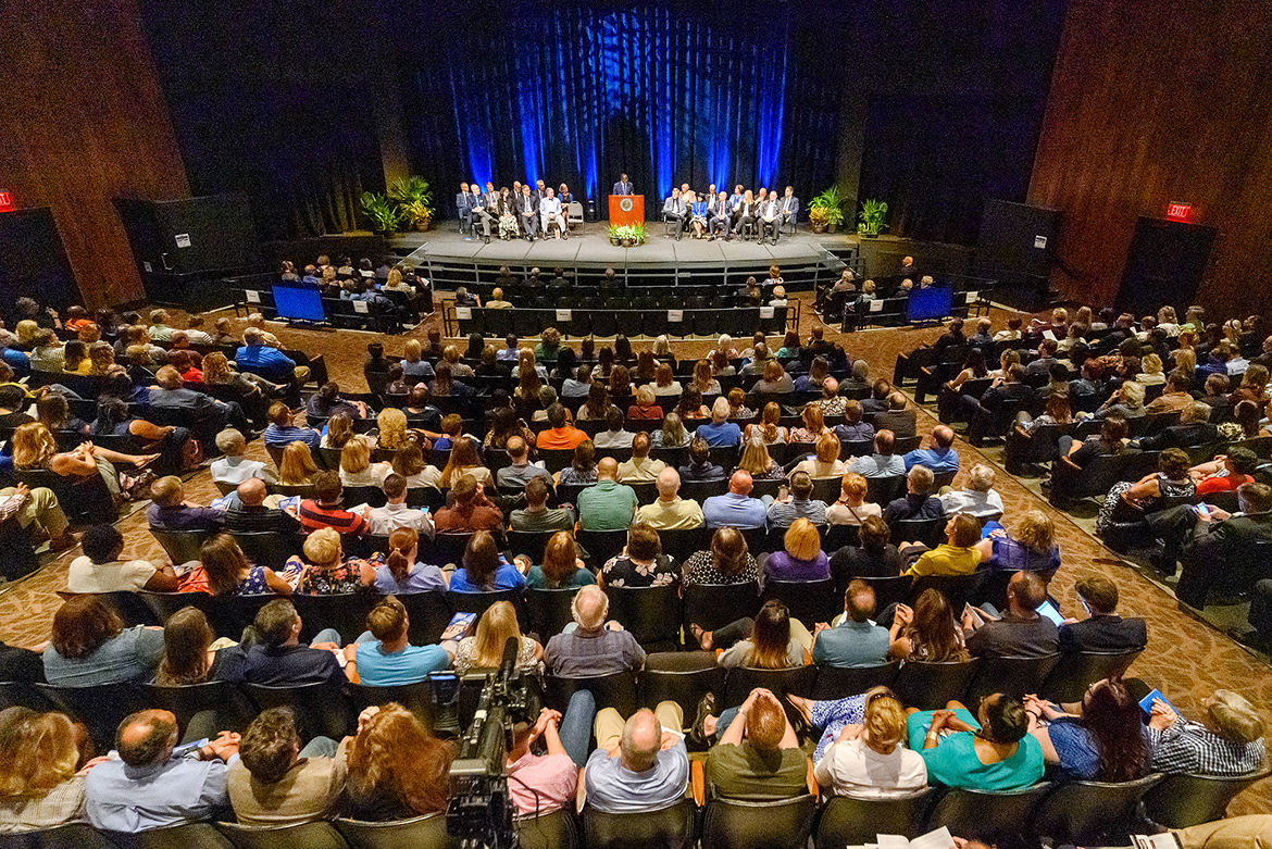 A large crowd looks on as MTSU President Sidney A. McPhee gives his annual State of the University Address during the Fall Faculty Meeting held Thursday, Aug. 22, inside Tucker Theatre. (MTSU photo by J. Intintoli)