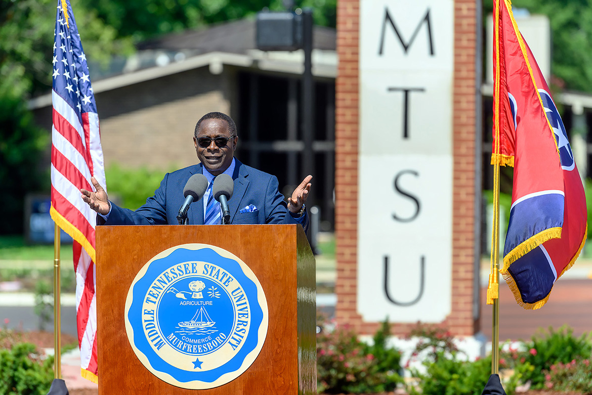 MTSU President Sidney A. McPhee gives remarks Friday, Aug. 2, at a ribbon-cutting ceremony to celebrate the completion of an $18.2 million renovation project to Middle Tennessee Boulevard. (MTSU photo by J. Intintoli)