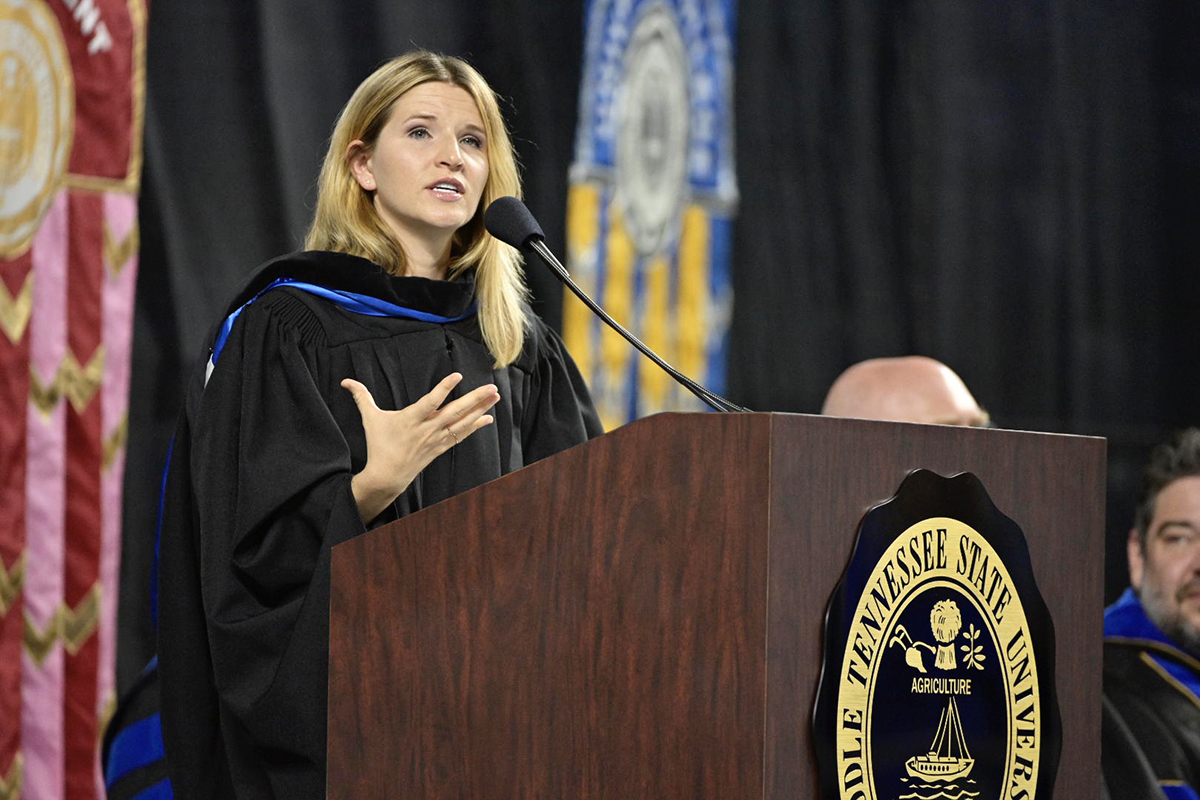 "Author and historian Tara Westover addresses the crowd of more than 5,000 people at the 18th University Convocation. Westover spoke Saturday, Aug. 24, in Murphy Center. ""Don't mistake the middle of your story for the end,"" Westover said. And regarding passions in your life, ""take your passion seriously before you turn your back on that because you don't necessarily know where your passion will take you."" (MTSU photo by Andy Heidt)"