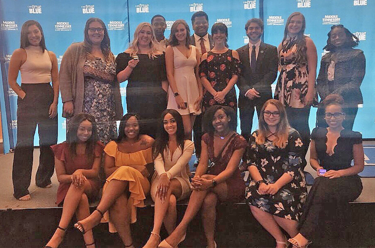 Some of the 40-member MTSU Freshman Council from 2018-19 are shown at the conclusion of the Student Organization banquet in April. The deadline to apply to be considered to be on the 2019-20 Freshman Council will be Sept. 5. (Submitted photo by MTSU SGA)