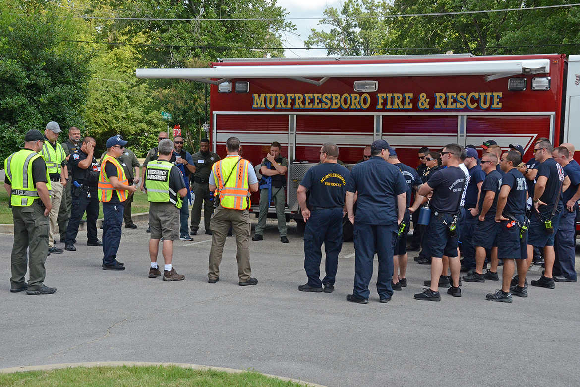 Emergency responders representing police, fire and EMS agencies from Rutherford County, Murfreesboro, Smyrna, La Vergne, Eagleville, MTSU and Motlow State Community College gathered at MTSU in early August for a comprehensive training course. (MTSU photo by Jimmy Hart)