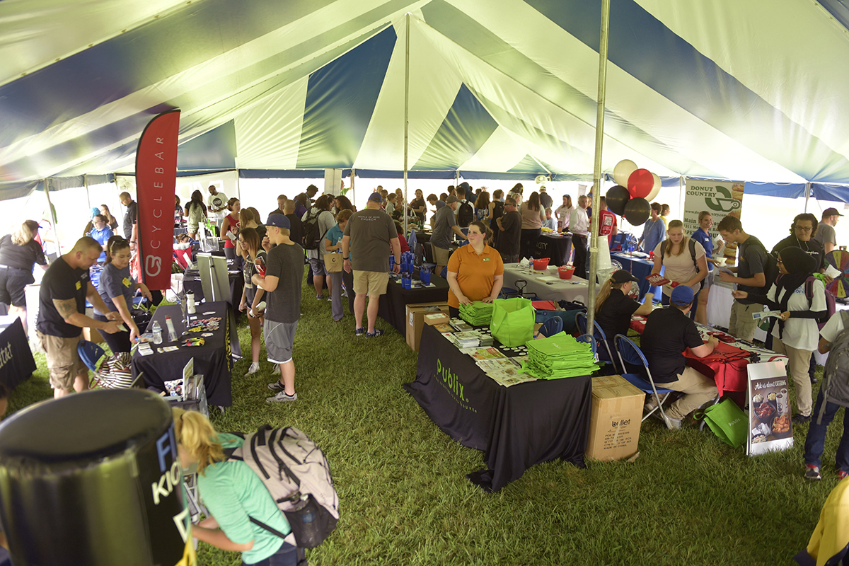 Hundreds of MTSU students, faculty and staff spent time under two large tents Tuesday and Thursday, Aug. 27-28, to discover what the city has to offer during the annual Meet Murfreesboro event in the Student Union Commons. (MTSU photo by James Cessna)