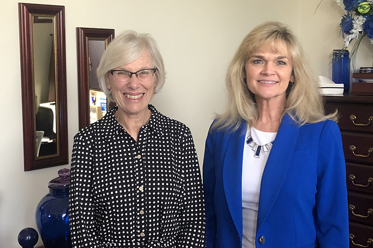Marilyn H. Oermann, the Thelma M. Ingles Professor of Nursing at Duke University, left, is shown with Jenny Sauls, director of the MTSU School of Nursing, following Oermann's talk to nursing faculty Aug. 19 about how to get published in academic journals. (Submitted photo)