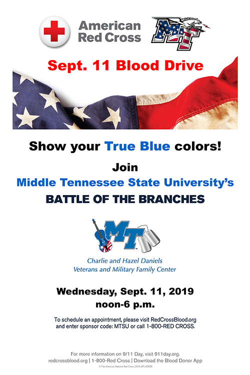"poster for MTSU's 2019 ""Battle of the Branches"" blood drive"