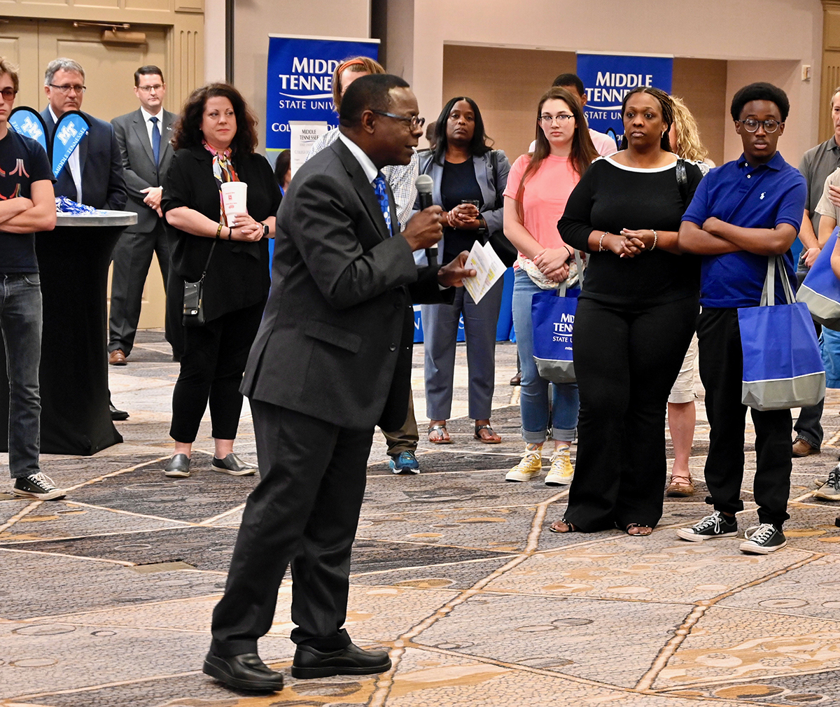 MTSU President Sidney A. McPhee shares with the crowd attending the Birmingham, Ala., MTSU True Blue Tour event Thursday, Sept. 26, at the Marriott the benefits of coming to the Murfreesboro university and guaranteed scholarships. (MTSU photo by Andrew Oppmann)