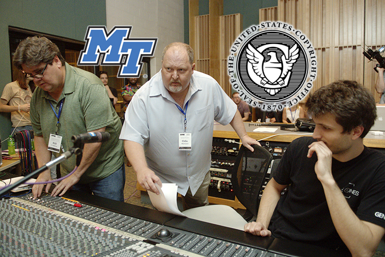 MTSU Commercial Songwriting Program coordinator Odie Blackmon, center, watches a recording engineering demonstration in the College of Media and Entertainment's Studio B during the summer 2018 Association for Popular Music Educators conference on campus. Colleague Bill Crabtree, left, an assistant professor in the Department of Recording Industry who specializes in audio production, adjusts levels on the console while Gleb Iarovoi, right, a graduate student in the Master of Fine Arts in Recording Arts and Technologies Program, listens closely. Blackmon is a member of the newly created U.S. Copyright Office Music Licensing Collective's Dispute Resolution Committee, which is tasked with setting up rules by January 2021 to ensure that songwriters receive proper royalties for digital plays of their music. (MTSU file photo by J. Intintoli)