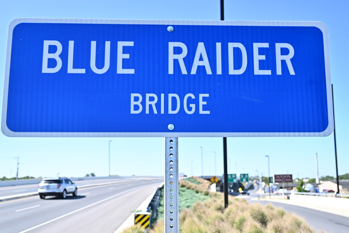 The new Blue Raider Bridge sign is shown following the Thursday, Sept. 5, dedication ceremony of the newly named bridge that crosses Broad Street at Memorial Boulevard/Old Fort Parkway. (MTSU photo by J. Intintoli)