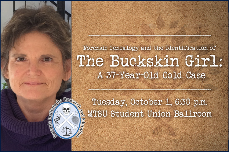 Dr. Colleen Fitzpatrick, scientist, forensic genealogist and the fall 2019 guest of MTSU's William M. Bass Legends in Forensic Science Lectureship series, presented by MTSU's Forensic Institute for Research and Education.