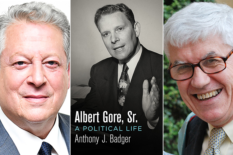 "cover of the biography ""Albert Gore Sr.: A Political Life,"" center, with former Vice President Al Gore at left and author Tony Badger at right"