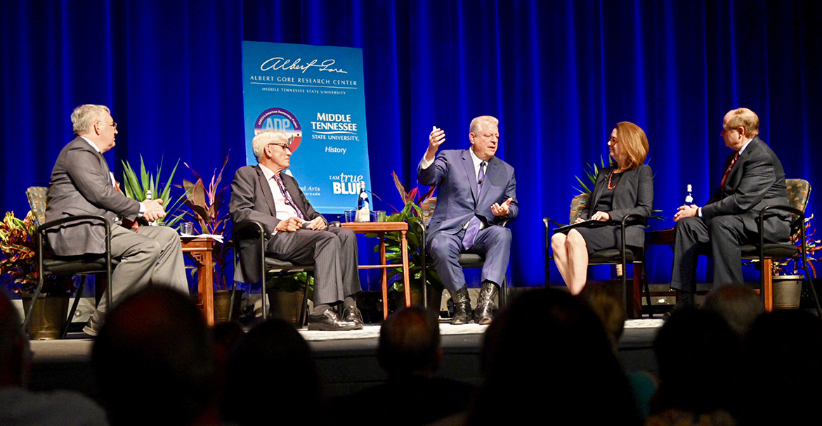 Former Vice President Al Gore, center, answers a question Monday, Sept. 16, during a public forum at MTSU's Tucker Theatre with author Anthony Badger, second from left, to discuss Badger's new biography on Gore's father, the late U.S. Sen. Albert Gore Sr. Also participating in the panel were Louis Kyriakoudes, left, director of the Albert Gore Research Center; Mary Evins, history professor and director of the American Democracy Project at MTSU, center right; and Kent Syler, right, MTSU political science professor. (MTSU photo by J. Intintoli)