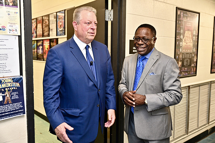 Former Vice President Al Gore, left, chats with MTSU President Sidney A. McPhee Monday, Sept. 16, before a public forum at MTSU's Tucker Theatre with author Anthony Badger to discuss Badger's new biography on Gore's father, the late U.S. Sen. Albert Gore Sr. (MTSU photo by J. Intintoli)