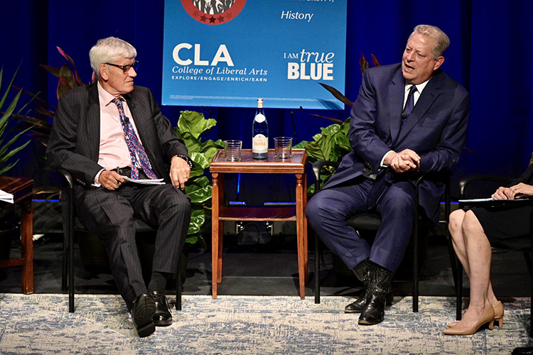 Former Vice President Al Gore, right, makes a point Monday, Sept. 16, during a public forum at MTSU's Tucker Theatre with author Anthony Badger, left, to discuss Badger's new biography on Gore's father, the late U.S. Sen. Albert Gore Sr. Just out of frame is Mary Evins, history professor and director of the American Democracy Project at MTSU. (MTSU photo by J. Intintoli)