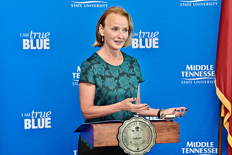 Former Tennessee House Speaker Beth Harwell gives remarks Tuesday, Sept. 24, inside the MTSU Student Union Building after being formally introduced as a Distinguished Visiting Professor in political science at the university. (MTSU photo by Andy Heidt)