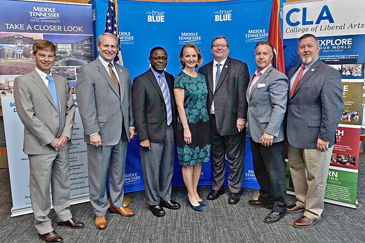 MTSU President Sidney A. McPhee, third from left, formally introduced former Tennessee House Speaker Beth Harwell, center, as a Distinguished Visiting Professor in political science Tuesday, Sept. 24, inside the MTSU Student Union Building. Pictured, from left, are state Rep. Charlie Baum, an MTSU economics professor; Rutherford County Mayor Bill Ketron; McPhee; Harwell; state Reps. Tim Rudd and Mike Sparks; and Steve Sandlin, deputy to the Rutherford County mayor. (MTSU photo by Andy Heidt)