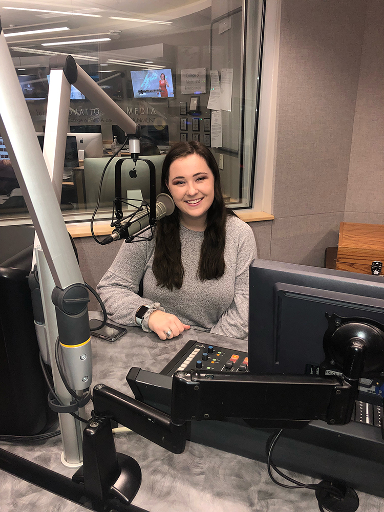 MTSU College of Media and Entertainment senior Jessie Steele hosts two shows on WMTS-FM 88.3, the student-run radio station located inside the Bragg Media and Entertainment Building. (Submitted photo)