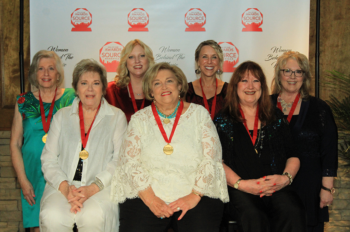 Pictured are, front row, from left,, Gayle Hill, Judi Turner and Trisha Walker-Cunningham. Back row, from left: Grace Reinbold, Beverly Keel, Erika Wollam-Nichols, Sarah Brosmer at the 2019 Source Hall of Fame Awards in Nashville, Tenn. (Photo courtesy of Bev Moser)