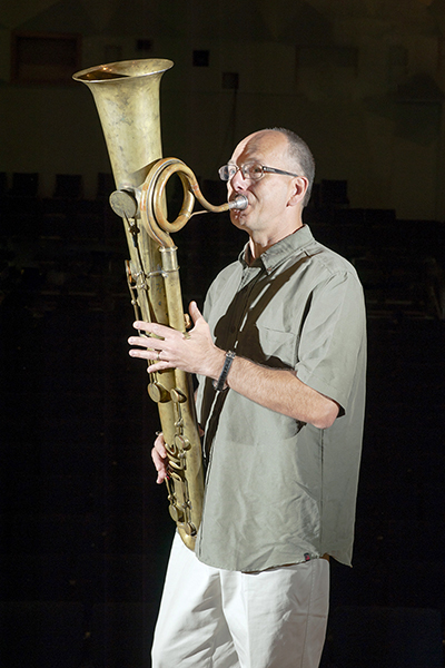 MTSU School of Music professor David Loucky plays a tune on a 19th-century ophicleide, the predecessor of the tuba and euphonium, in this MTSU file photo. Loucky will present a free public concert Sunday, Sept. 15, in Hinton Hall inside the university's Wright Music Building that features French music for brass instruments, including his customary trombone and euphonium. (MTSU file photo by J. Intintoli)