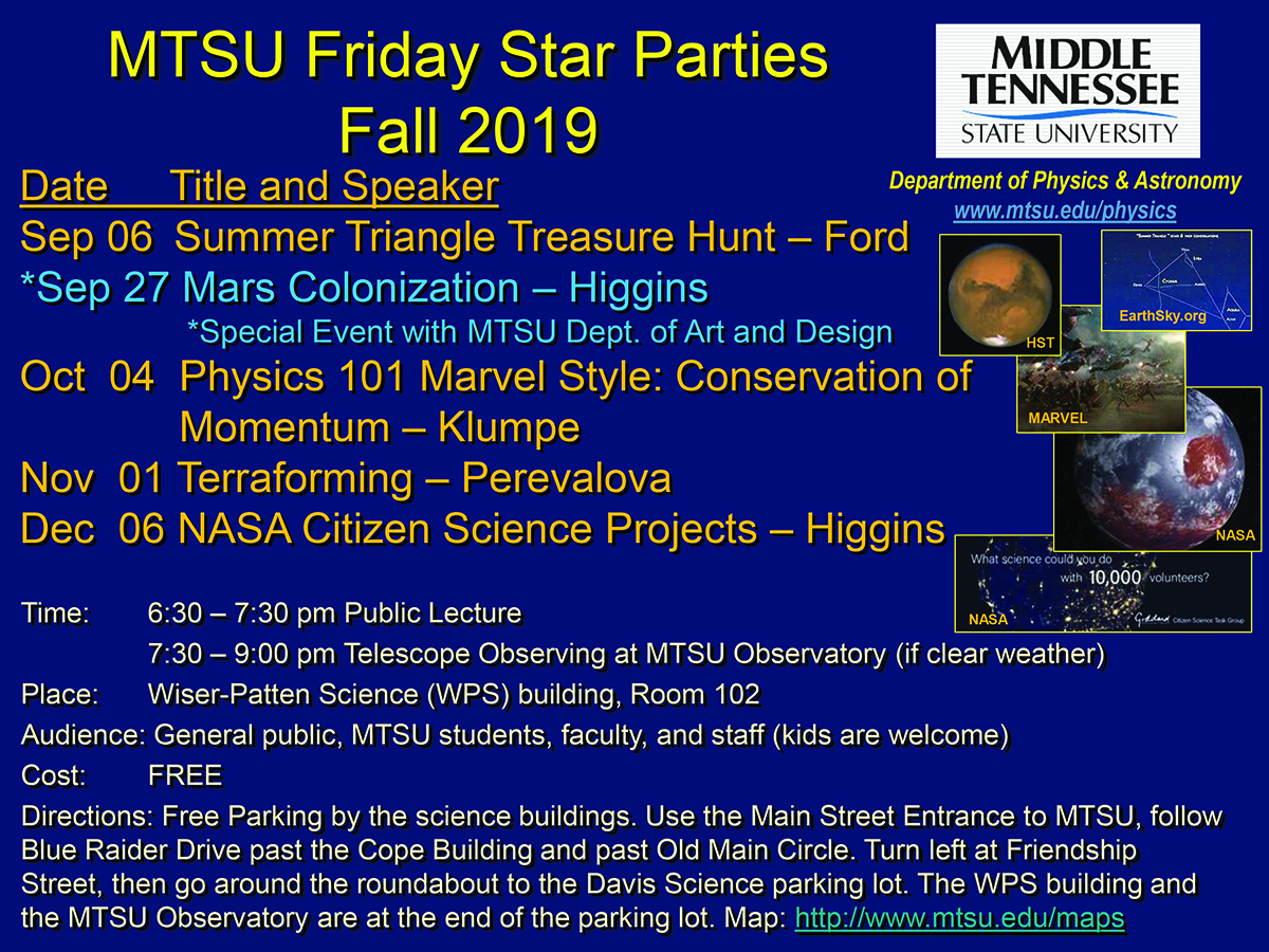 Fall 2019 MTSU Star Party graphic