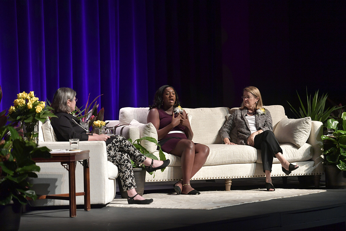 "Pictured, from left, are New York Times opinion writer and Nashville author Margaret Renkl, state Rep. London Lamar, D-Memphis, and women's suffrage scholar Marjorie Spruill of the University of South Carolina, at the ""Suffragists and Citizenship"" panel discussion held Tuesday, Sept. 17, at MTSU's Tucker Theatre. The panel, moderated by Renkl, was part of the university's 2019 Constitution Day celebration. (MTSU photo by James Cessna)"