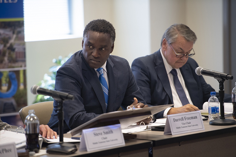 MTSU Board of Trustees Vice Chairman Darrell Freeman, center left, was reelected to a two-year term during the board's quarterly meeting held Wednesday, Sept. 18, at the Miller Education Center on Bell Street. At right is Trustee Joey Jacobs. (MTSU photo by James Cessna)
