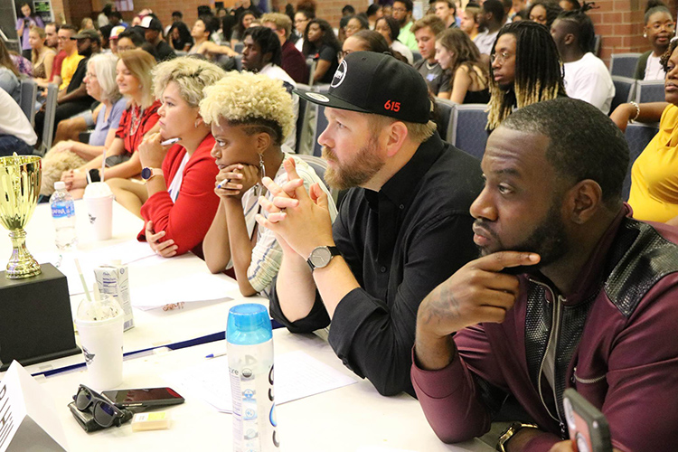 Judges for the 2019 Rep Your Roots talent showcase watch a performance at this year's event held Friday, Sept. 20, in the Student Union atrium. (Submitted photo)