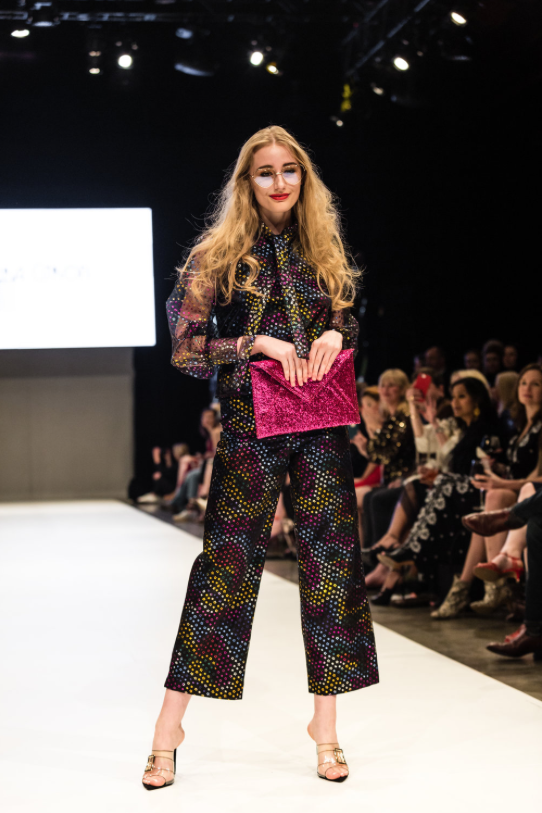 Model walking runway at Nashville Fashion Week 2019 representing designer Laura Citron. Photo by John Hillin.
