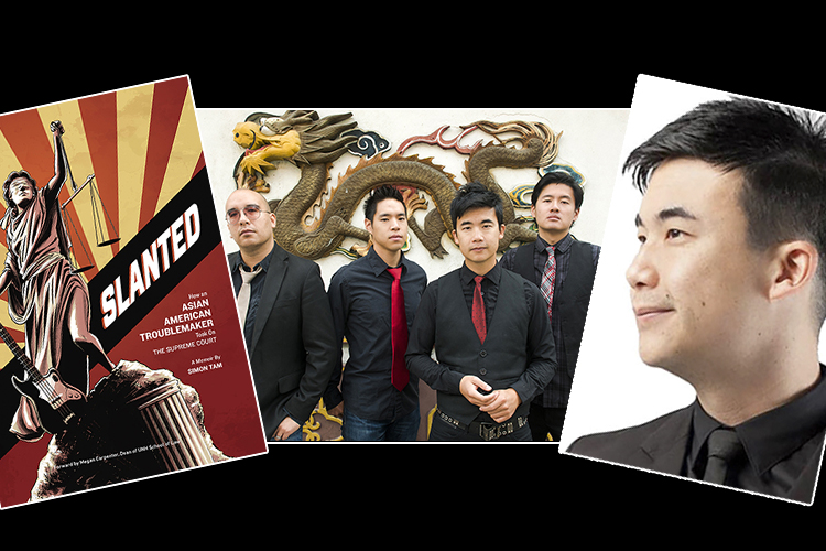 "Musicians The Slants, shown at center in this 2015 promotional photo in Portland, Oregon, are flanked by band founder Simon Tam at right and the cover of his memoir, ""Slanted,"" at left."