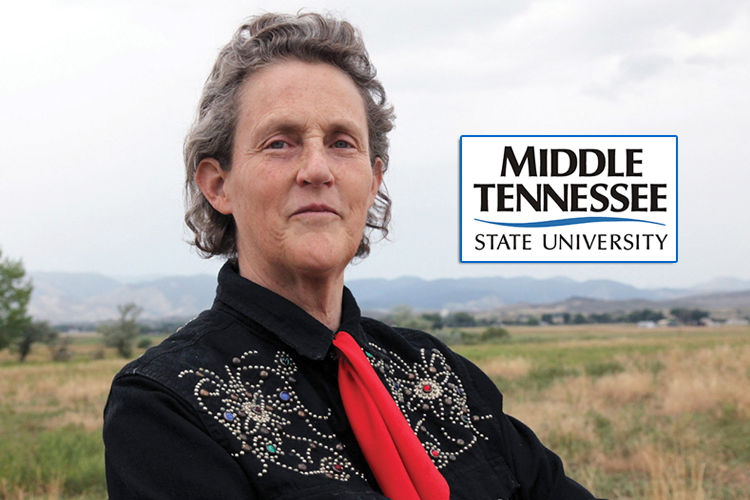 Dr. Temple Grandin, author, educator and activist for autism awareness and humane animal treatment, with the MTSU wordmark